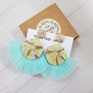 Fan Tassel Fringe Drop Earrings, Recycled Wine Cork Earrings, Eco-friendly, Boho Jewelry, Gift for her, Handpainted earring, Summer earrings