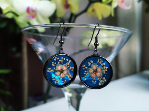 Pressed real flower earrings Stained glass earrings Terrarium sky blue earrings,Dried spring flowers,Circle earrings,Forest jewelry earrings