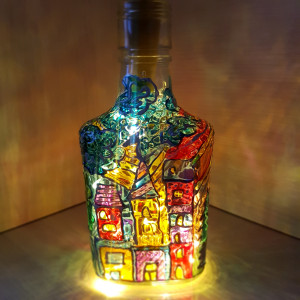 Stained glass lamp Wine bottle lamp Fairy lights Unique night light Mood lighting Hand-painted lamp Wine lovers gifts Wine Wedding gift