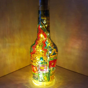 Unique night light Wine bottle lamp Fairy lights Mood lighting Stained glass art Hand-painted lamp Wine lovers gifts Wine Wedding gift
