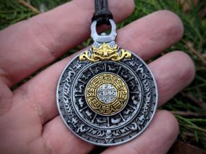 Bagua Amulet Melong Tibet Mirror Defense Buddhist Pendant Necklace Dzogchen Shaman Mirror Made in Nepal Vajra Cross