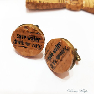 Men's Cufflinks, Cork Jewelry, Vineyard Wedding, Cork Cufflinks, Rustic Wedding, Men's Cufflinks,PERSONALIZED Cork Cufflinks