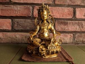 Dzambala Budda Statue Bronze Tibetan Buddhist Jambala Yellow Kubera