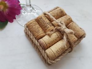 Wine Cork Coasters SET OF Two - Square wine cork coaster- set of 2 - Wedding Favor - Unique Wedding Favor - Wine Accessories - Wine Lover