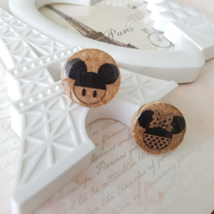 Wine Cork Earrings, Mickey Mouse insprired earrings, Disney inspired earrings, Minnie Mouse Earrings, Disney Vacation Earrings, Cork Earring