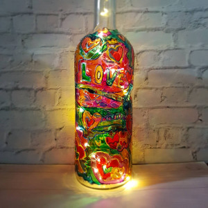 Wine bottle lamp Fairy lights Unique night light Mood lighting Valentine's day gift Hand-painted lamp Wine lovers gifts Wine Wedding gift