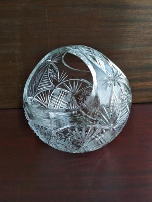 """Beautiful vintage Soviet crystal vase """"Lukoshko"""". Flower basket in clear crystal with handle"""