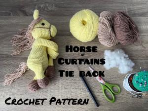 Crochet Pattern Horse Curtain Tieback, grasshopper curtain tie back, in English,instant download amigurumi, nursery curtains decoration