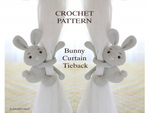 Crochet Pattern Bunny Curtain Tieback, Rabbit curtain tie back, hare toys , PATTERN in English + video