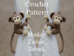 Crochet Pattern Monkey Curtain Tieback,  Moncey curtain tie back, hare toys , PATTERN in English