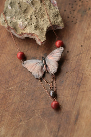 Real butterfly necklace, bug copper electroformed, red corals, black pearl, electroform, Art Nouveau style, electroformed