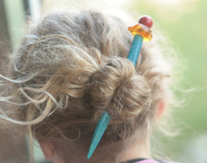 Blue bone hair pin with amber and red coral, multicolored hairfork, hand carved bones, hair stick,hairpin, fairy hairdress, woodland fashion