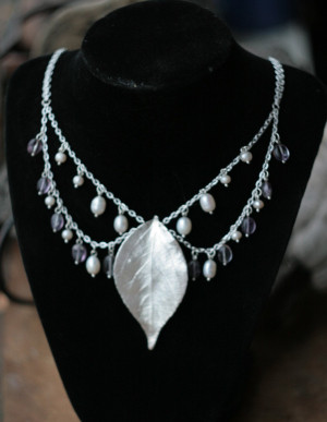 Pearl and leaf necklace with amethyst, silver-plated cherry leaf,  Art Nouveau style, winter statement jewelry