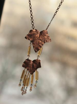 Long leaf necklace, ivy leaves, electroformed, electroplated, copper electroform, botanical jewelry, elven elvish elf, nature inspired,druid