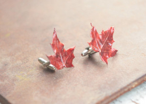Canada maple leaf cufflinks, red sugar maple, grooms gift, wedding costume mens gift, botanical jewelry, electroplated bright leaf,