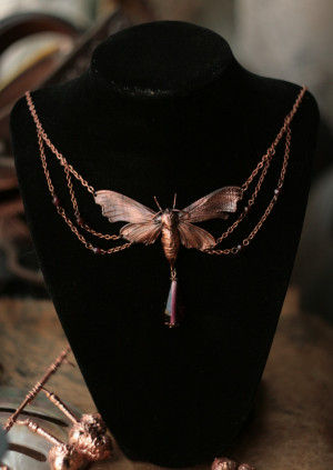 Evening butterfly necklace, night butterfly pendant with garnet, real moth Art Nouveau, style, statement electroplated