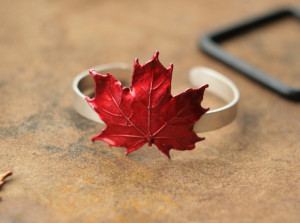 Maple leaf cuff bracelet, Canada day gift, silver plated real leaf copper electroformed, red canadian maple leaf, electroforming