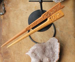Wooden carved hairstick, floral design hairpin, handcarved hair fork, art nouveau hairdo, beauty gift, hair stick, fairy elven elvish elf
