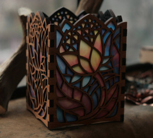 Flower wooden candleholder, handpainted silk, elf candle holder, unique home decor,