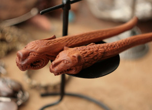 Wood carved hairstick, wolf dragon hairpin, beast hair fork, LARP hairdo, gift for her, Christmas present, unique woodland creature