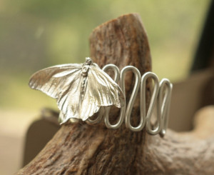 Silver butterfly cuff bracelet, real butterfly, Elven metal jewelry, electroformed butterfly, electroforming, electroplated,fairy elf elvish