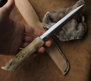 Steel knife with deer horn handle, gift for him, dagger cold iron, witches athame, altar tool, LARP armor