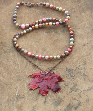 Pearl and maple leaf necklace, electroformed canadian red maple, electroforming, botanical jewelry, fairy shebby shic, nature inspired