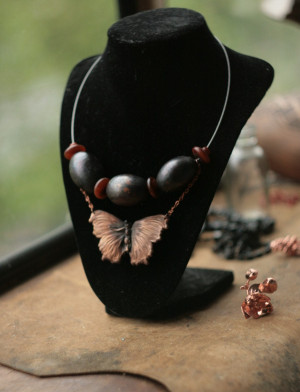 Large butterfly collar necklace, electroplated real moth, statement jewelry, metal oval beads, natural materials, copper electroform