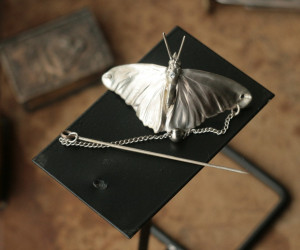 Real butterfly silver brooch, electroformed metal insect, fibula moth, electroplated moth, Rene Lalique art nouveau style