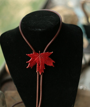 Maple leaf bolo tie, red canadian sugar maple, electroformed botanical accessory