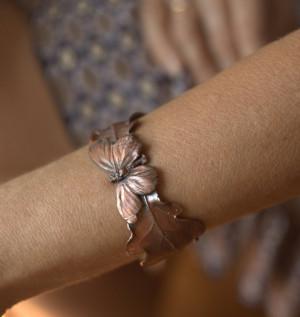 Elven bracelet, real leaves and butterfly, metal cuff bracelet of oak leaf, electroformed butterfly, electroforming, electroplated,fairy elf