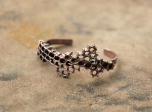 Honeycomb copper cuff bracelet, beehive electroplated metal honey comb, natural comb electroform, eco friendly, boho bee jewelry