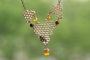 Honeycomb and bee necklace, electroplated honey comb,amber bead, beehieve, bee lover, hexagon pendant, electroforming, save the bee