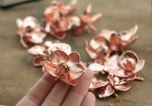 Natural orchid flowers copper electroformed,botanical jewelry,flower pendant,metal plated electroplated orchids,electroforming,electroform