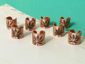 Cannabis beads set of 6, Marijuana beads, Dreadlock bead, Large hole beads, Rasta coil, Weed dread bead, Dread schmuck, Boho hair jewelry