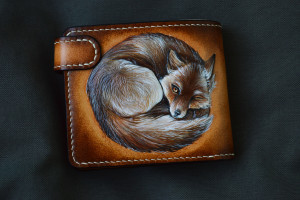 Yggdrasil & Fox. Short leather tooled wallet.