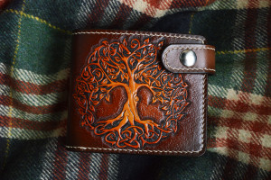 Yggdrasil. Short leather tooled wallet.
