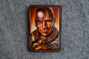 Minsc & Boo. Leather tooled passport cover.
