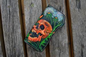 Skull & Dandelions. Long tooled wallet.