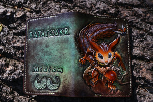 Ratatoskr. Passport tooled leather cover.
