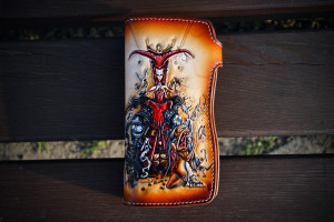 The Queen. Long tooled leather wallet.