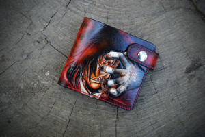 Alukard Hellsing. Short tooled leather wallet.