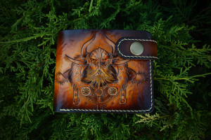 Odin & Ravens. Short leather tooled wallet.