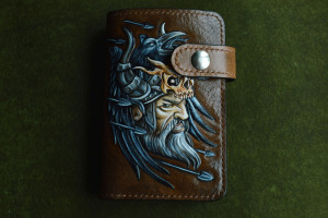 Viking & boat. Middle tooled leather wallet.