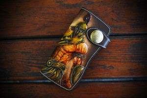 Spartan Warrior. Long leather tooled wallet.