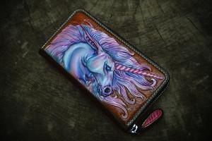 Pink Unicorn. Long leather zipper wallet.