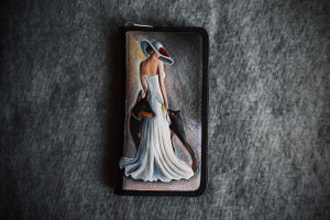 Girl with dog. Long leather zipper wallet.