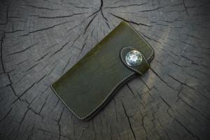 Long leather wallet. Pueblo oliva.