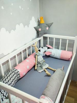 pink snake pillow -  crib bumper -  large bolster pillow