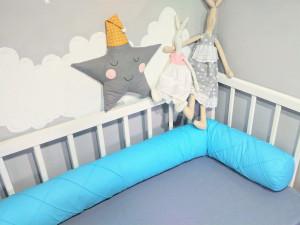 blue crib bumper - bolster pillow